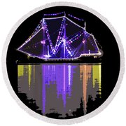 Ship In The Harbor Round Beach Towel