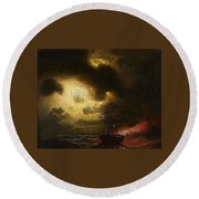 Ship On Fire Round Beach Towel