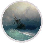 Ship On Stormy Seas Round Beach Towel