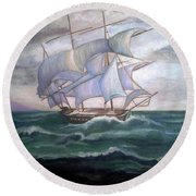 Ship Out To Sea Round Beach Towel
