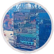Shipping Containers And Building Windows Reflecting Graffiti  Art Of Valparaiso-chile Round Beach Towel