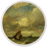 Shipping In A Breeze Round Beach Towel