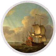 Shipping In The Thames Estuary Round Beach Towel
