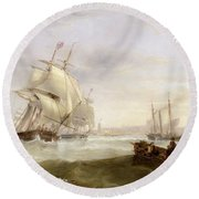 Shipping Off Hartlepool Round Beach Towel