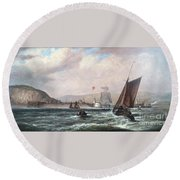 Shipping Off Newhaven Harbour Round Beach Towel