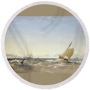 Shipping Off The Coast Round Beach Towel