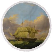 Shipping Off The Eddystone Round Beach Towel