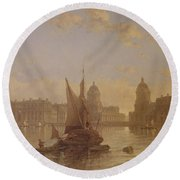 Shipping On The Thames At Greenwich Round Beach Towel by David Roberts