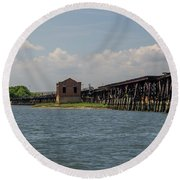 Shipping Terminal Round Beach Towel