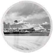 Ships All In A Row Round Beach Towel