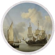 Ships At Anchor On The Coast  Willem Van De Velde II C 1660 Round Beach Towel