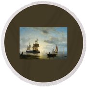 Ships At Dusk Round Beach Towel