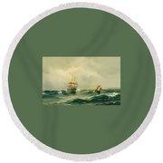 Ships At Sea Round Beach Towel