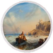 Ships By The Coast Round Beach Towel