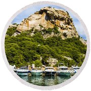 Ships Collection To Italian Harbor Round Beach Towel