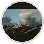 Ships In A Storm Round Beach Towel