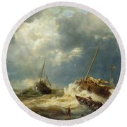 Ships In A Storm On The Dutch Coast Round Beach Towel