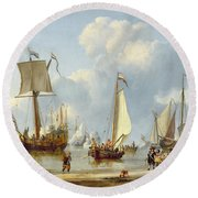 Ships In Calm Water With Figures By The Shore Round Beach Towel