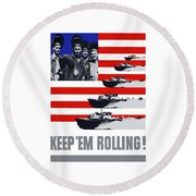 Ships -- Keep 'em Rolling Round Beach Towel