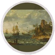 Ships Moored Off A Rocky Coastline With Fishermen Unloading Their Catch Round Beach Towel