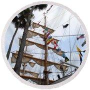 Ships Palm Round Beach Towel
