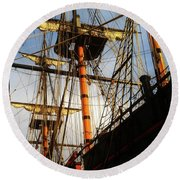 Ships Rigging Round Beach Towel