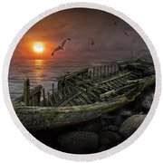 Shipwreck At Sunset Round Beach Towel
