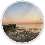 Shipwreck Sunset Panorama  Round Beach Towel