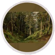 Shishkin, Ivan 1832-1898 Forest Clearing Round Beach Towel