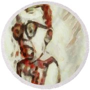 Shocked Scared Screaming Boy With Curly Red Hair In Glasses And Overalls In Acrylic Paint As A Loose Round Beach Towel