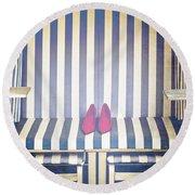 Shoes In A Beach Chair Round Beach Towel
