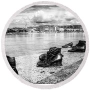 Shoes On The Danube Memorial Round Beach Towel