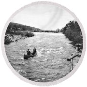 Shooting The Rapids In Maine Round Beach Towel