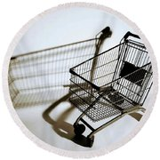 Shopping Cart Reflection Art  Round Beach Towel