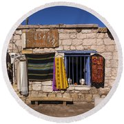 Shopping In Toconao Chile Round Beach Towel