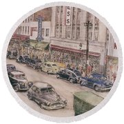 Shopping On Elm St. 1949 Round Beach Towel