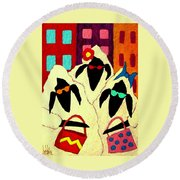 Shopping Sheep Divas Round Beach Towel