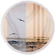 Shore Collage Round Beach Towel