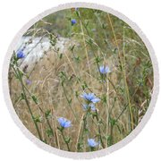 Shore Flowers Round Beach Towel