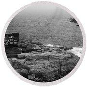 Shoreline And Shipwreck - Portland, Maine Bw Round Beach Towel