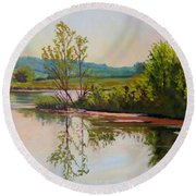 Shoreline At Evening Round Beach Towel