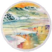 Shoreline Watercolor Round Beach Towel