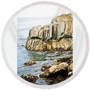 Shores Of Pebble Beach Round Beach Towel