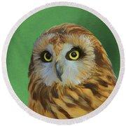 Short Eared Owl On Green Round Beach Towel