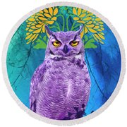 Owl At Night Round Beach Towel