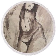 Showing Figure - Sketch Of A Female Nude Round Beach Towel