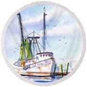 Shrimp Boat Gulf Fishing Round Beach Towel