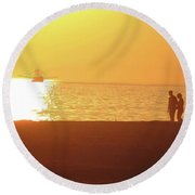 Shrimp Boats And Love  Round Beach Towel