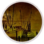 Shrimpboats In Apalachicola  Round Beach Towel