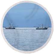 Shrimping In The Open Seas Round Beach Towel
